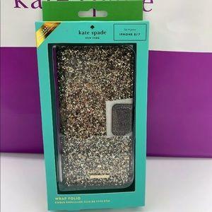 KATE SPADE Glitter iPhone 7/8 wrap FOLIO CASE NEW